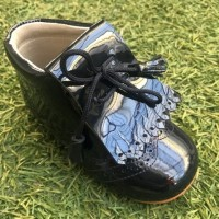 4945 Navy Patent Lace up Boots with brogue detailing and kilt tongue