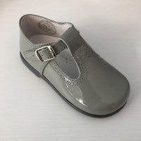 184-E Nens Grey Patent T-Bar Shoe