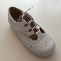 504 White Leather Lace up Shoe