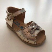 924 Gold Leather Open Toe Sandal with bow