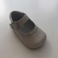PI-101513 Beige Patent Mary Jane Pram Shoe