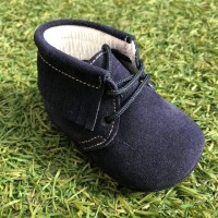 PI-101573 Navy Suede Lace up Pram Boot with Fringe
