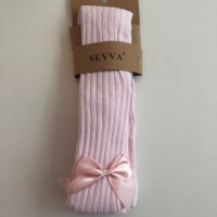 Pink Bow Ribbed Tights
