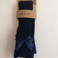 Navy Bow Ribbed Tights