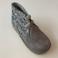 145 Nens Grey Suede and Glitter Desert Boots