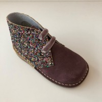 145 Nens Pink Suede and Glitter Desert Boots