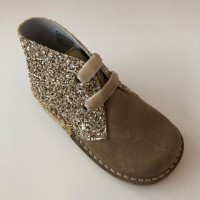 145 Nens Gold Suede and Glitter Desert Boots