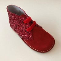 145 Nens Red Suede and Glitter Desert Boots