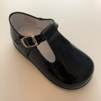 184-E Nens Navy Patent T-Bar Shoe