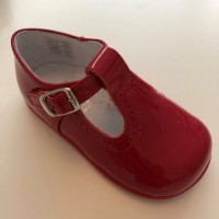 184-E Nens Red Patent T-Bar Shoe