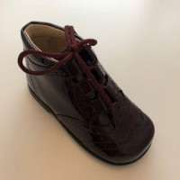 185-E Nens Burgundy Patent Lace up Brogue Boot
