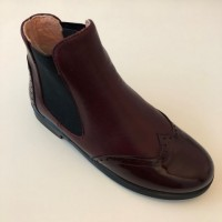 A-2644 Burgundy Leather and Patent Chelsea Boot