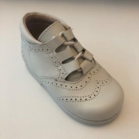 627 Beige Lace up Brogue Boot