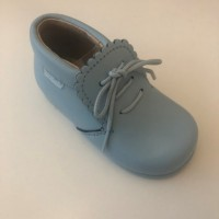 422 Pale Blue Leather Lace up Ankle Boot