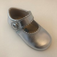 1502 Silver Leather Mary Jane