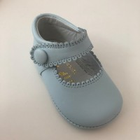 TI114 Pale Blue Leather Mary Jane Pram Shoe