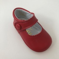TI114 Red Leather Mary Jane Pram Shoe