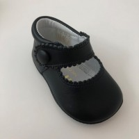 TI114 Navy Leather Mary Jane Pram Shoe
