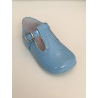 184-E Nens Blue Patent T-Bar Shoe