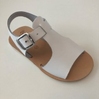 400-V White Leather Open Toe T-Bar Sandal