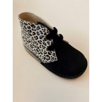 145 Nens Black Suede and Zebra print Desert Boots