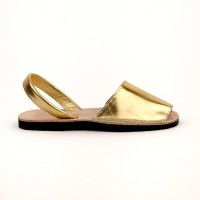 7505 Gold Leather Spanish Sandals (Slingbacks sizes 32-34)