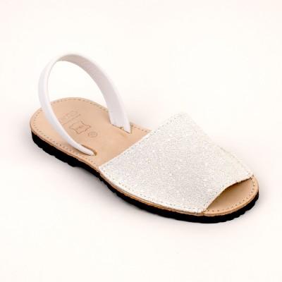 7505 White Glitter Spanish Sandals (Slingbacks sizes 32-34)