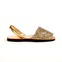 7505 Gold Glitter Spanish Sandals (Slingbacks sizes 32-34)