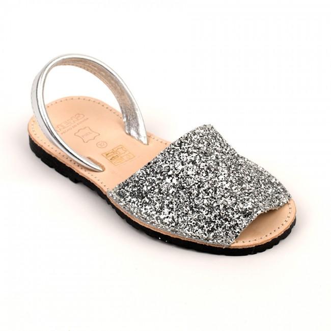 311d0f628233 ... 7505 Silver Glitter Spanish Sandals (Slingbacks sizes 32-34)
