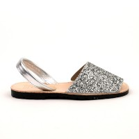 7505 Silver Glitter Spanish Sandals (Slingbacks sizes 32-34)