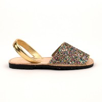 7505 Multi Glitter Spanish Sandals (Slingbacks sizes 32-34)