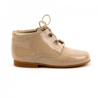 4511 Camel Patent Tassel Lace up Boots with brogue detailing