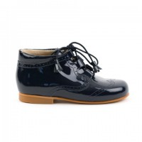 4511 Navy Patent Tassel Lace up Boots with brogue detailing