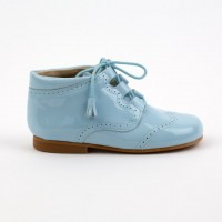 4511 Pale Blue Patent Tassel Lace up Boots with brogue detailing