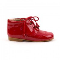 4511 Red Patent Tassel Lace up Boots with brogue detailing