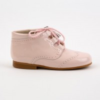 4511 Pink Patent Tassel Lace up Boots with brogue detailing