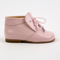 TI130 Pink Patent Tassel Lace up boot with Frill Edging