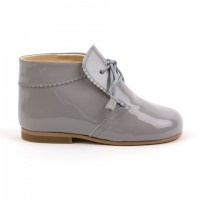 TI130 Grey Patent Tassel Lace up boot with Frill Edging