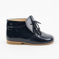 TI130 Navy Patent Tassel Lace up boot with Frill Edging