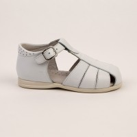 105-E Nens White Leather Spider Sandal