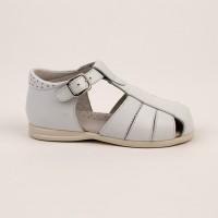 105-G Nens White Leather Spider Sandal