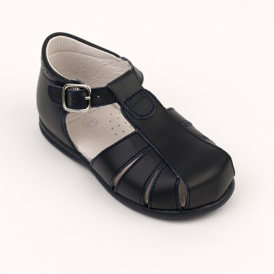 105-E Nens Navy Leather Spider Sandal