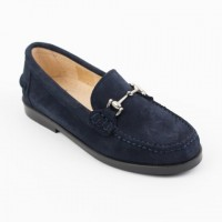 Suede Loafer with Silver Bar