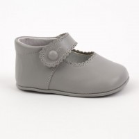 2240 Grey Leather Mary Jane Pram Shoe