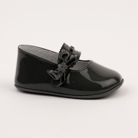 2517 Dark Grey Patent Mary Jane Pram Shoe