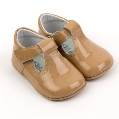 3192 Camel Patent T-Bar Pram Shoes