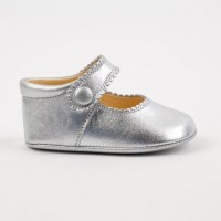 TI114 Silver Leather Mary Jane Pram Shoe
