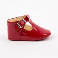 TI280 Red Patent T-Bar Pram Shoe
