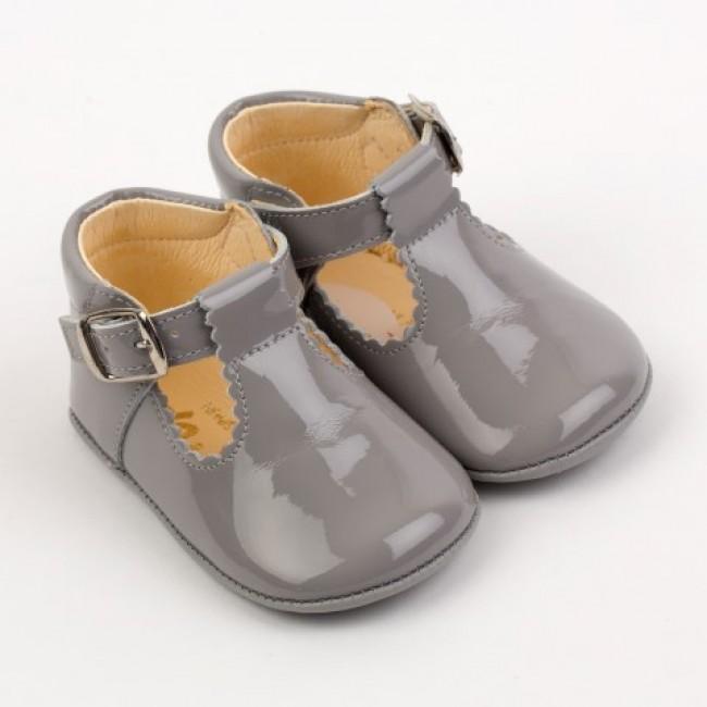 TI280 Grey Patent T-Bar Pram Shoe - £24.99 - Our Little Shoe Box ... bad831a293eb