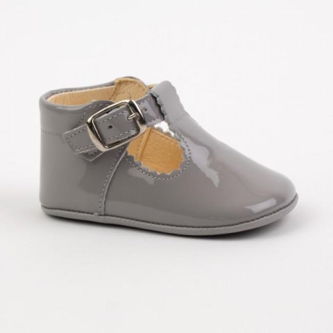 Ti280 Grey Patent T Bar Pram Shoe